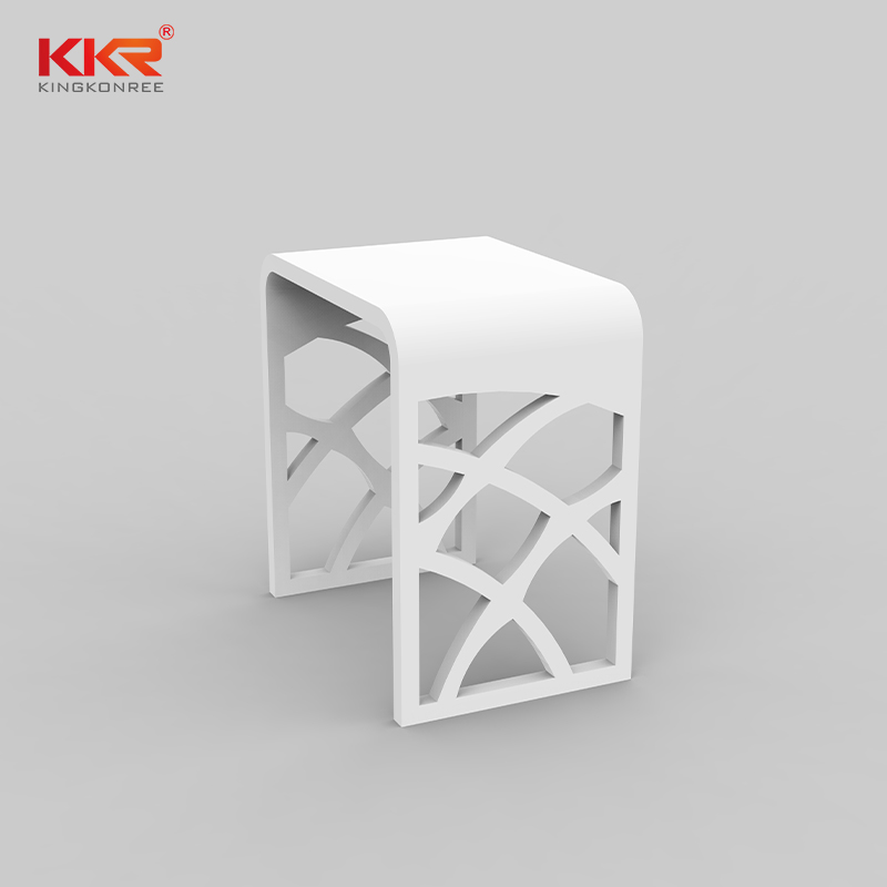 Newly Design White Marble Acrylic Solid Surface Bathroom Stool KKR-Stool - M